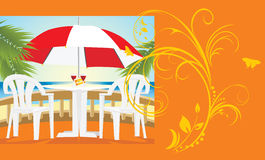 Restaurant at a sea. Kind from a balcony. Card Royalty Free Stock Photo