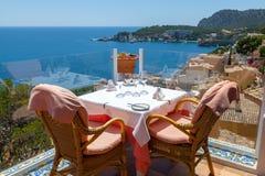 Restaurant with Sea Views. In Majorca, Spain Royalty Free Stock Photo
