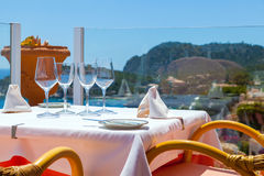 Restaurant with Sea Views. In Majorca, Spain Stock Photography