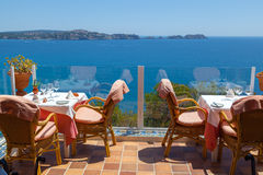 Restaurant with Sea Views. In Majorca, Spain Stock Photo