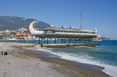 Restaurant on the seafront of Yalta stylized Greek ship Argo Stock Image