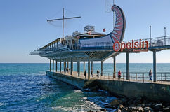 Restaurant on the seafront of Yalta stylized Greek ship Argo Royalty Free Stock Photography