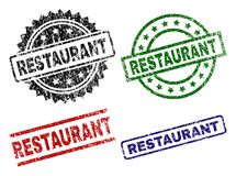 Scratched Textured RESTAURANT Seal Stamps royalty free illustration