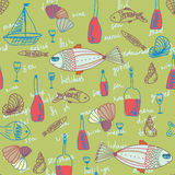 Restaurant seamless pattern with fishes Stock Photos