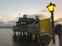 A Restaurant in Seaport Village at Dusk stock photos