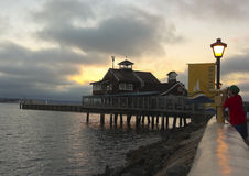A Restaurant in Seaport Village at Dusk Stock Image