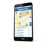 Restaurant search phone Royalty Free Stock Photo