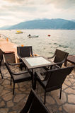 Restaurant at the seaside of Montenegro Stock Photography