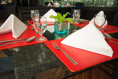 Restaurant seats and tables near the river, restaurant interior. Royalty Free Stock Photography
