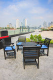 Restaurant seats and tables near the river, restaurant interior. Royalty Free Stock Images
