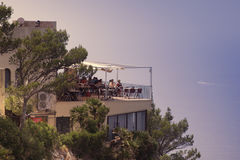 Restaurant with seaview. A table in a good restaurant on the island of mallorca Stock Photos