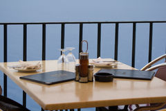 Restaurant with seaview. A table in a good restaurant on the island of mallorca Stock Photo
