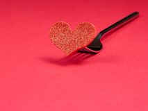 Restaurant series, valentine day dinner on red background Stock Photography