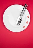 Restaurant series, valentine day dinner on red background Stock Photo