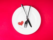 Restaurant series, valentine day dinner on red background Royalty Free Stock Image