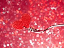 Restaurant series, valentine day dinner on red light bokeh background Royalty Free Stock Photos
