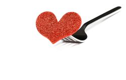 Restaurant series, valentine day dinner on white background Stock Photography