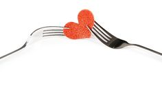 Restaurant series, valentine day dinner on white background Royalty Free Stock Photo