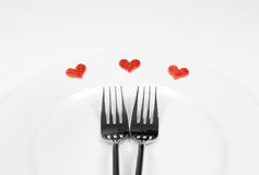 Restaurant series, valentine day dinner on white background Royalty Free Stock Images