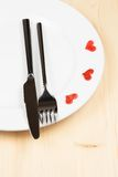 Restaurant series, valentine day dinner on wood background Stock Photography