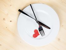 Restaurant series, valentine day dinner on wood background Royalty Free Stock Photography