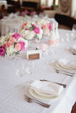 Restaurant Served table for wedding Stock Image