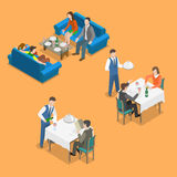 Restaurant service isometric flat vector concept. Royalty Free Stock Images