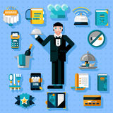 Restaurant Services Icons Set. With butler figure serving food  vector illustration Stock Photo