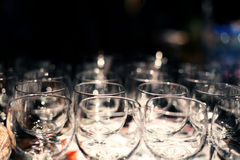Restaurant serving glass goblets Royalty Free Stock Photo