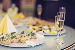 Restaurant serving juice champagne glasses Stock Image
