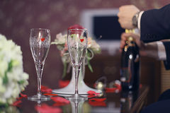 Restaurant serving juice champagne glasses Stock Images
