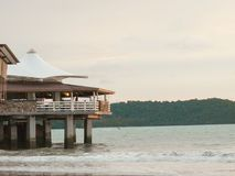 Restaurant set atop a cliff located in a beach. Restaurant & Bar set atop a cliff located Pantai Cenang, Langkawi, Malaysia Stock Photos