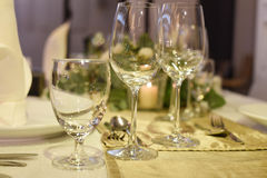 Restaurant set. A dining table restaurant set Royalty Free Stock Photography