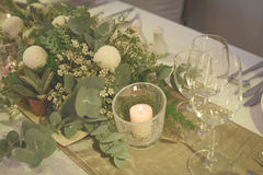 Restaurant set. A dining table restaurant set Royalty Free Stock Image