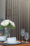 Restaurant set in luxury living room with special effect light Royalty Free Stock Image
