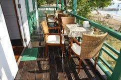 Restaurant Set Rattan Wood Table Stock Images