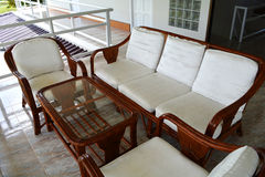 Restaurant Set Rattan Wood Table Royalty Free Stock Images