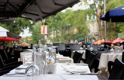 Restaurant setting. View of an outside restaurant setting stock image