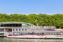 Restaurant on the ship Bateaux Mouches. Paris. France Stock Images