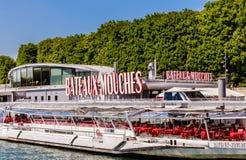 Restaurant on the ship Bateaux Mouches. Paris Royalty Free Stock Photo