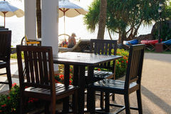 Restaurant on the shore Stock Photography