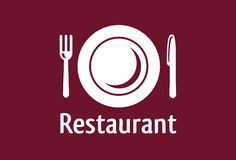 Restaurant sign. With plate, fork and knife Royalty Free Stock Photo