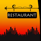 Restaurant sign. Finding a restaurant to eat out in the city Stock Photos