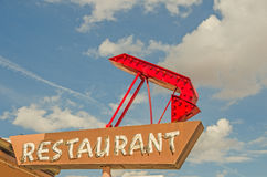 Restaurant Sign with Arrow Stock Photo