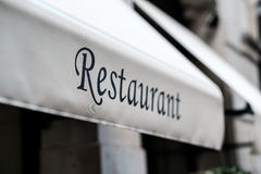 Restaurant sign in Barcelona. Catalonia Royalty Free Stock Photo
