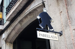 A restaurant sign in Barcelona where paella is prepared. 17.0820 Stock Images