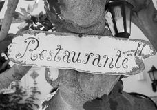 Restaurant sign in black & white royalty free stock photography
