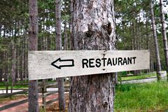 Restaurant Sign Deep inside Woods Royalty Free Stock Photography