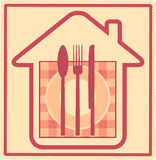 Restaurant sign with house silhouette and utensil Stock Image