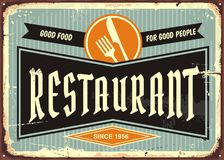 Restaurant sign. With knife and fork symbol. Diner signboard template. Food and drinks advertisement Stock Photo
